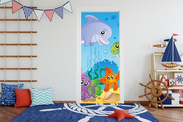 Türaufkleber - Kinderbild Unterwasser Tiere IV