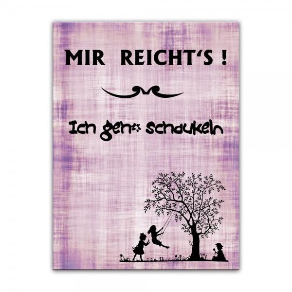 Leinwandbild mit Spruch - Ich geh' schaukeln - rosa