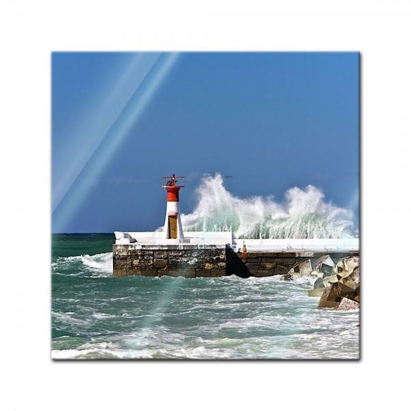 Glasbild - Leuchtturm in Cape Town Süd Afrika