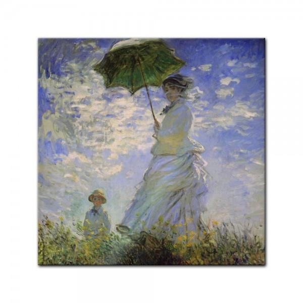 Glasbild Claude Monet - Alte Meister - Frau mit Sonnenschirm