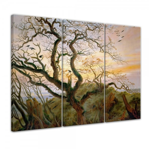 SALE Leinwandbild - Caspar David Friedrich Der Baum der Krähen - 150x90 cm 3tlg