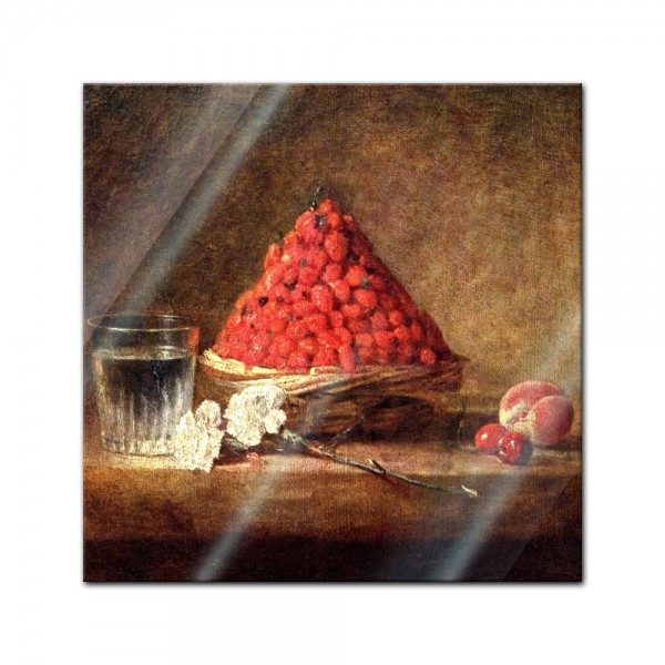 Glasbild Jean Siméon Chardin - Alte Meister - Der Erdbeerkorb