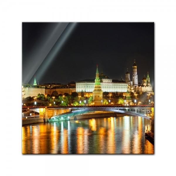 Glasbild - Nachtansicht des Kreml - Moskau