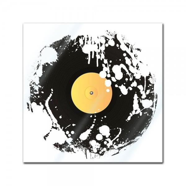 Glasbild - Grunge Schallplatte