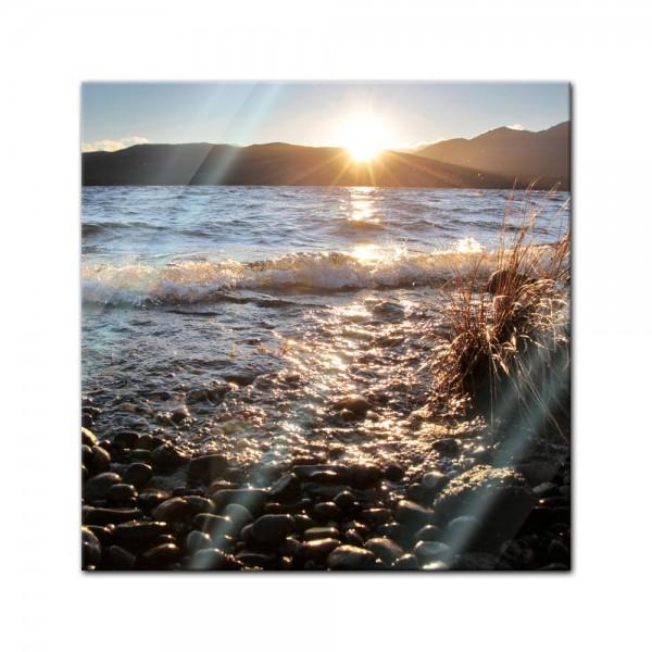 Glasbild - Lake Te Anau - Neuseeland