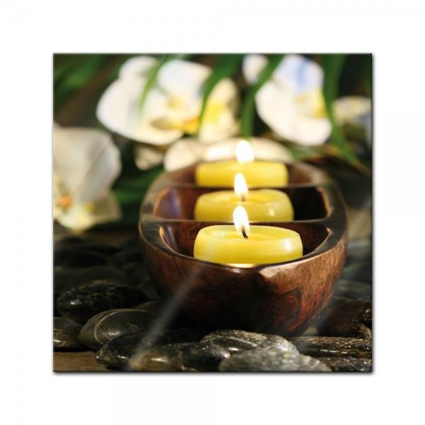 Glasbild - Wellness Kerzen