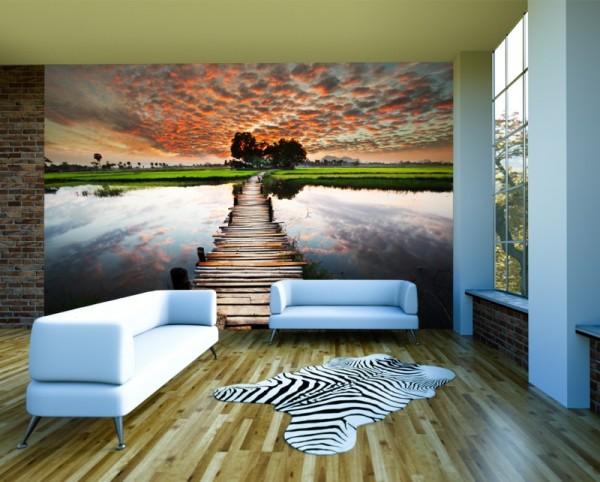 SALE Fototapete Steg retro - 360 cm x 270 cm - farbig