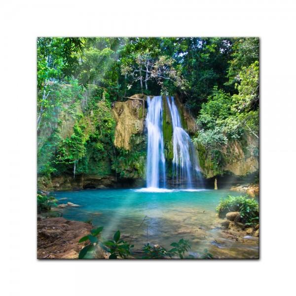 Glasbild - Wasserfall im Wald II