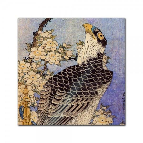 Glasbild Katsushika Hokusai - Alte Meister - Falke und Kirschblüten