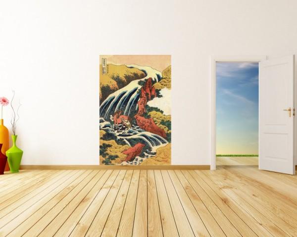 Fototapete Katsushika Hokusai - Alte Meister - Yoshitsune Umarai Wasserfall