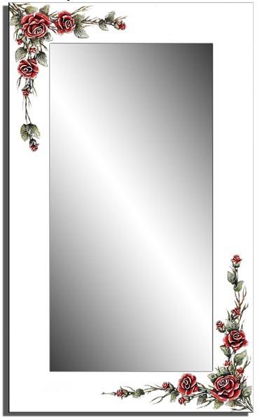 Wandspiegel weiß - 3D Rose ca. 110x70 cm