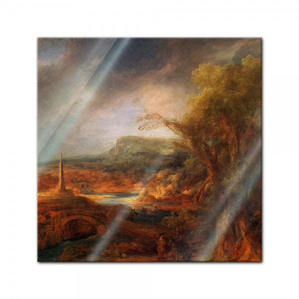 Glasbild Rembrandt - Alte Meister - Landschaft mit Obelisk