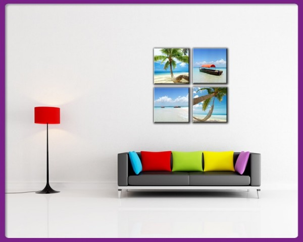 Leinwandbild Set 4 teilig Strand - Karibik