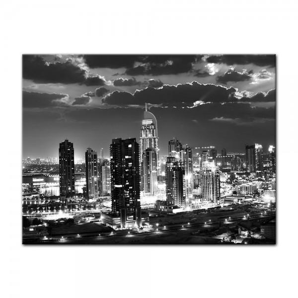 Leinwandbild - Dubai bei Nacht schwarz weiß