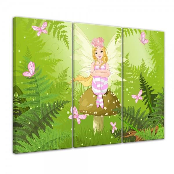 SALE Leinwandbild - Kinderbild Fee - 120x80 cm 3tlg