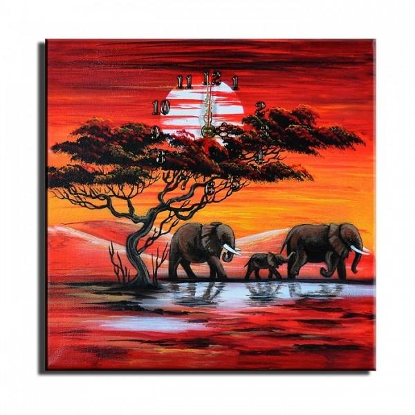 Wanduhr Leinwand Elefanten D 07