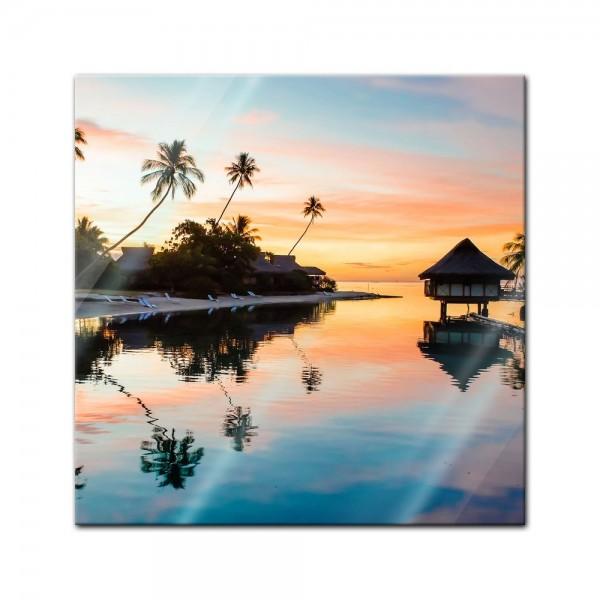 Glasbild - Tropischer Sonnenuntergang II