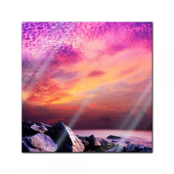 Glasbild - Sonnenuntergang über Felsenküste