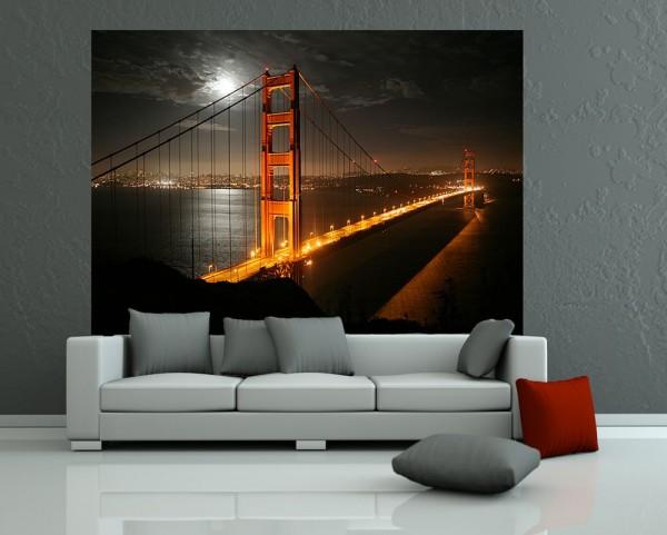 Fototapete - Golden Gate Brücke in der Nacht (Vollmond)