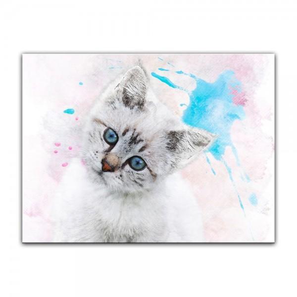 Leinwandbild - Aquarell - Katze