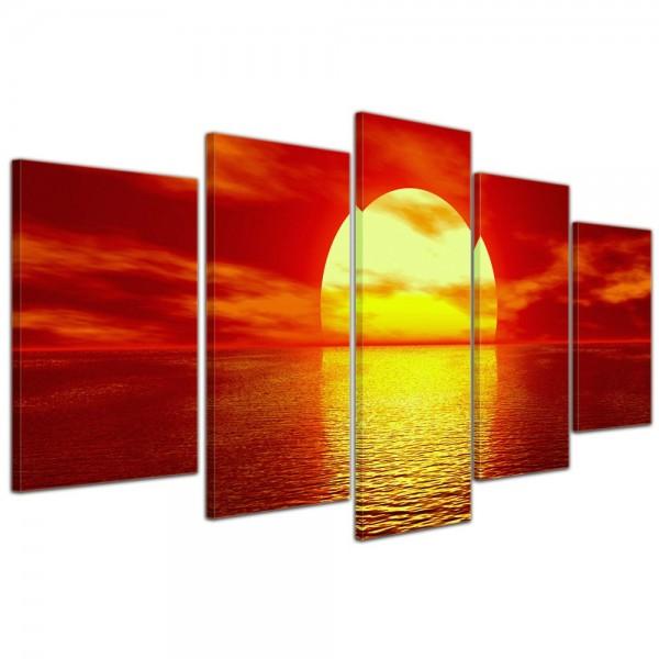 SALE Leinwandbild - Sonnenuntergang - 100x50 cm 5tlg