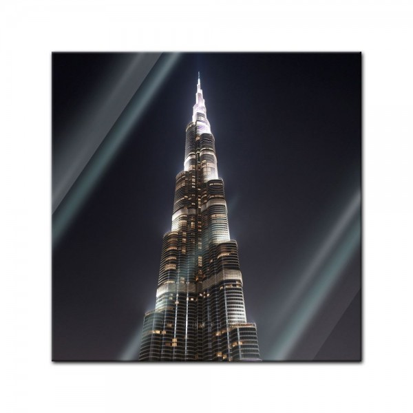 Glasbild - Burj Khalifa bei Nacht