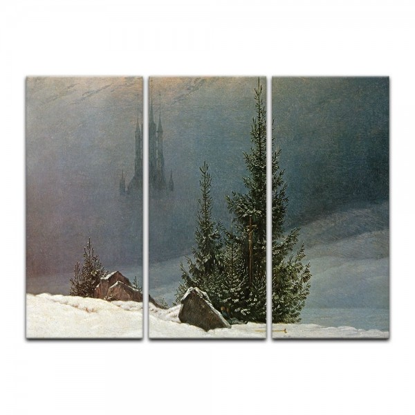 Leinwandbild - Caspar David Friedrich - Winterlandschaft mit Kirche