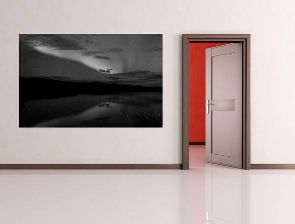 SALE Fototapete - Nordlichter - 230 cm x 150 cm - schwarz/weiß