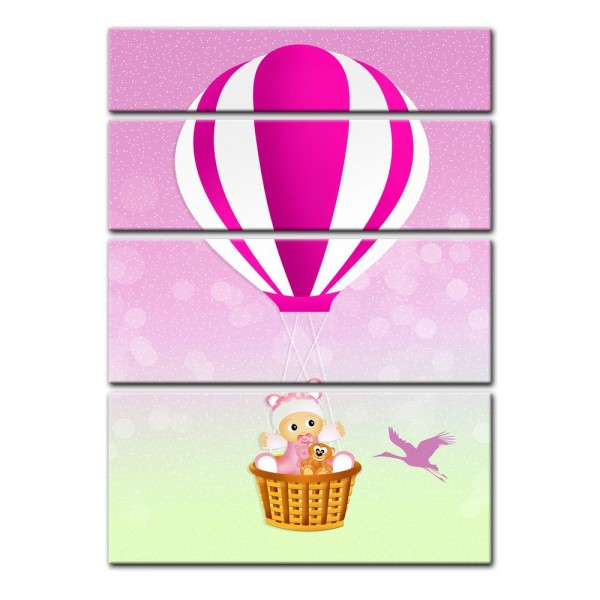 Leinwandbild - Kinderbild - Baby im rosa Heissluftballon