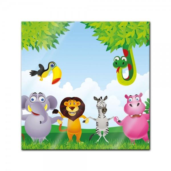 Glasbild - Kinderbild Dschungeltiere Cartoon