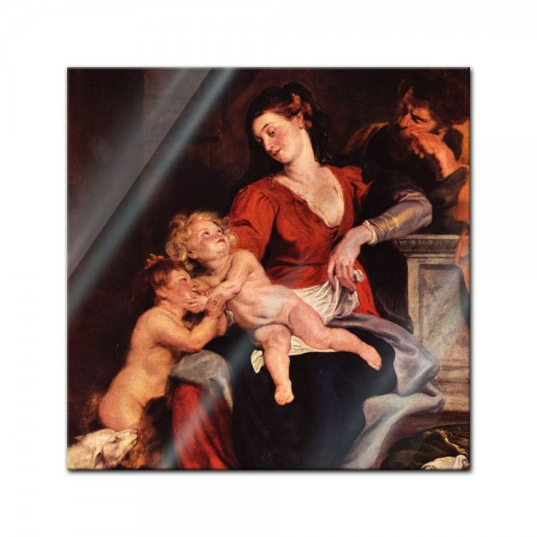 Glasbild Peter Paul Rubens - Alte Meister - Die Heilige Familie mit dem Korbe