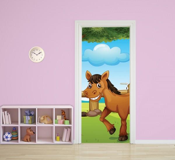 Türaufkleber - Kinderbild Pferd II