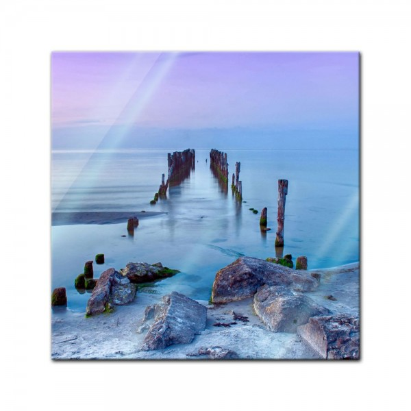 Glasbild - Alter Pier - Lettland