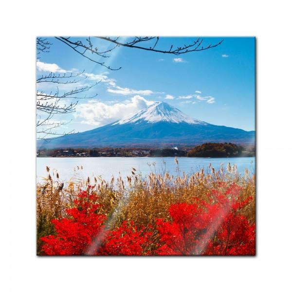 Glasbild - Fuji im Herbst