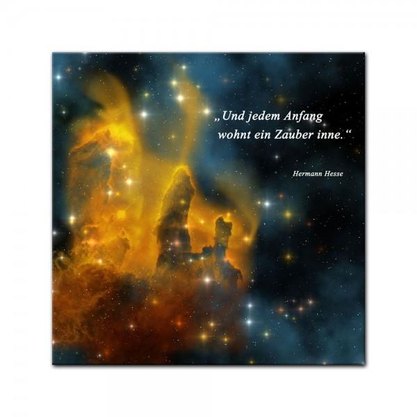 Leinwandbild mit Zitat - Und jedem Anfang wohnt ein Zauber inne. (Hermann Hesse)