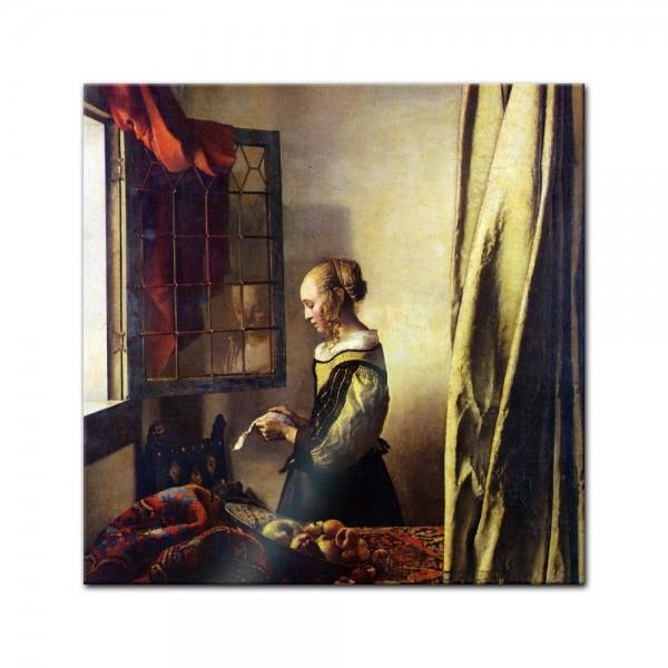 Glasbild Jan Vermeer - Alte Meister - Briefleserin am offenen Fenster