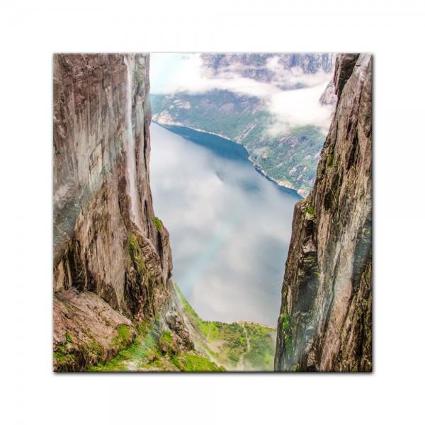 Glasbild - Blick auf Lysefjord vom Kjeragberg