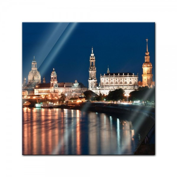 Glasbild - Dresden Skyline bei Nacht - Deutschland