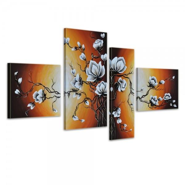 SALE Blume M7 - Leinwandbild 4 teilig 120x70cm Handgemalt