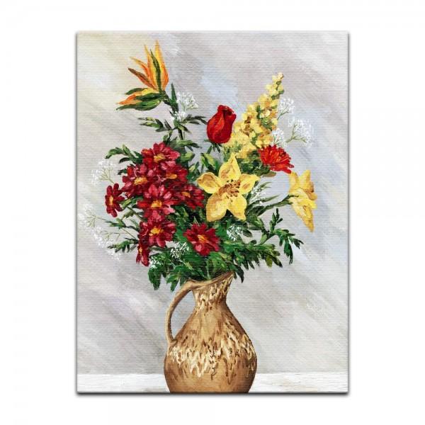 Leinwandbild - Bouquet in einem Steinkrug