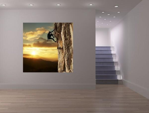 Fototapete - Bergsteiger im Sonnenuntergang