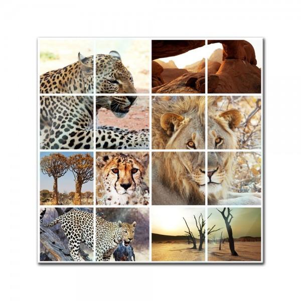 Glasbild - Afrika Collage I