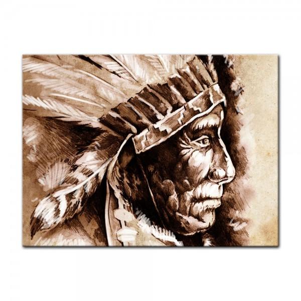 Leinwandbild - Indianer III, Tattoo Art