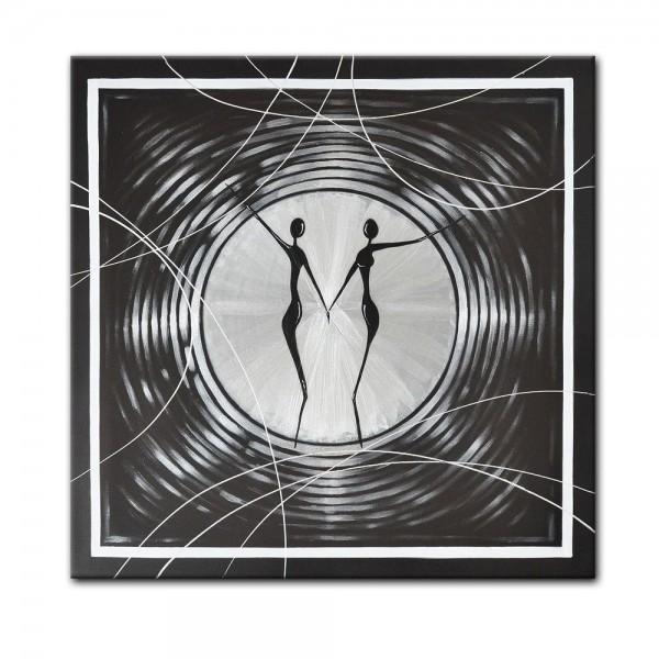 Abstrakte Kunst M9 handgemaltes Leinwandbild 80x80cm - 4cm Galerierahmen! - 809