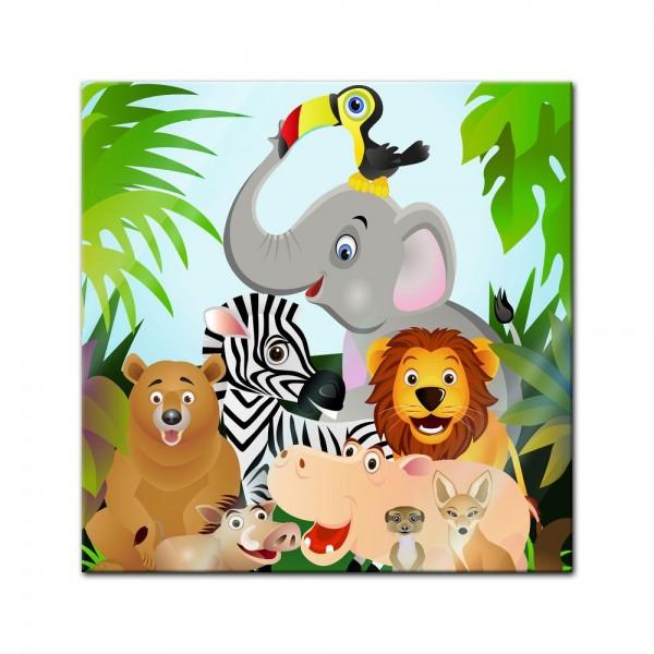 Glasbild - Kinderbild Dschungeltiere Cartoon II