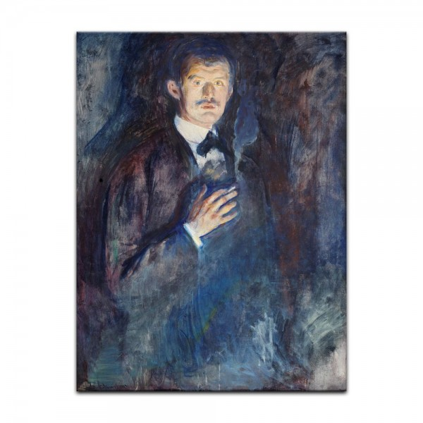 Leinwandbild - Edvard Munch - Selbstporträt mit Zigarette