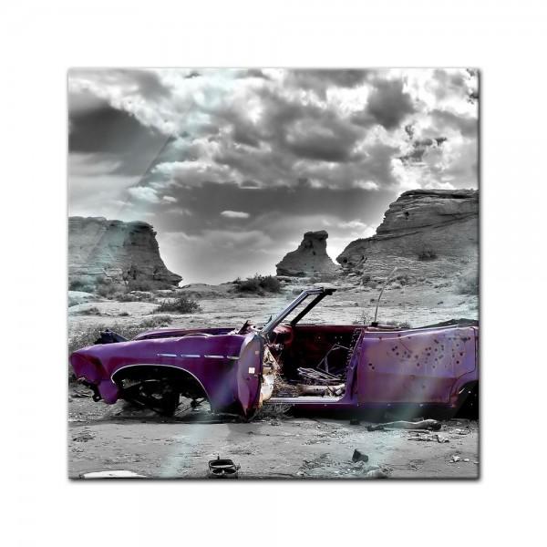 Glasbild - Cadillac - pink