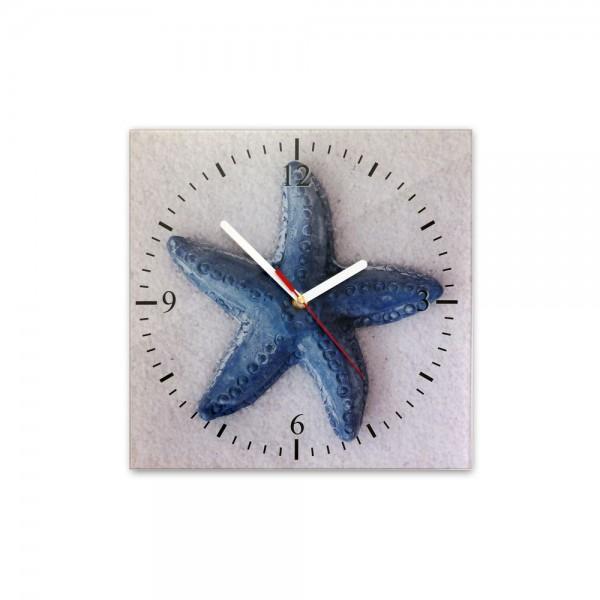 Glasuhr, Maritim Motiv - Kleiner blauer Seestern - 364
