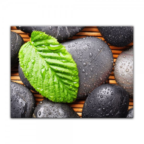 Leinwandbild - Zen Steine mit Blatt