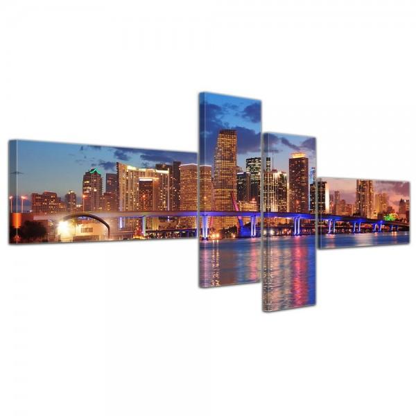 SALE Leinwandbild - Skyline von Miami South Beach - Florida - 200x90 cm 4tlg